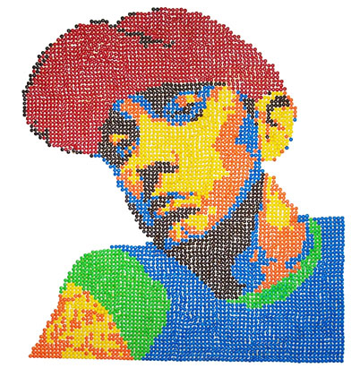 Eminemed - 5040 individual M&amp;M&#39;s arranged to create this image of Eminem.